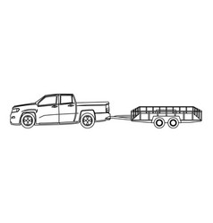 Pickup truck and dump trailer work transport vector