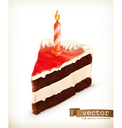 Piece of cake with a candle icons vector image