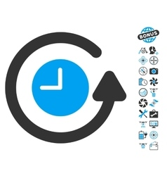 Restore clock icon with copter tools bonus vector
