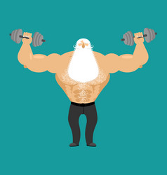 Retired athlete and dumbbells strong santa vector