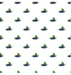 Ripe bilberries with green leaves pattern vector