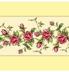 Rose pattern on yellow horizontal vector