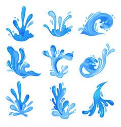set of blue sea or ocean waves powerful water vector image