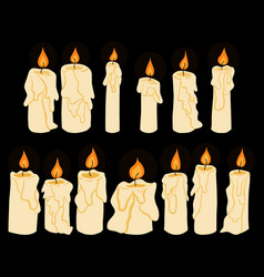 Set of doodle shining in darkness candles vector