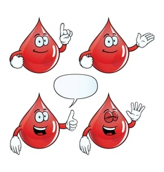 Smiling blood drop set vector image