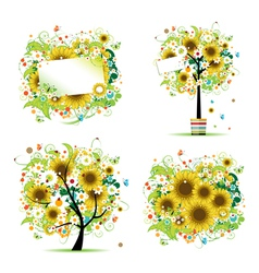 Summer sunflowers frame vector