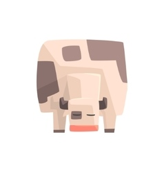 Toy Simple Geometric Farm Cow Facing Ground vector image