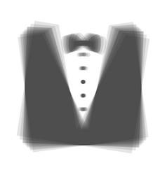 Tuxedo with bow silhouette gray icon vector