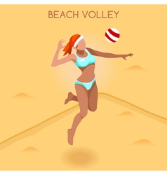 Volleyball beach 2016 summer games 3d vector