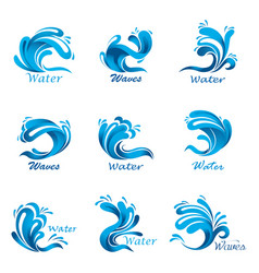 Waves splash and ocean or sea liquid vector