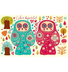 Owl Couple vector image