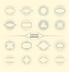 Vintage beauty sun rays borders or retro circles vector