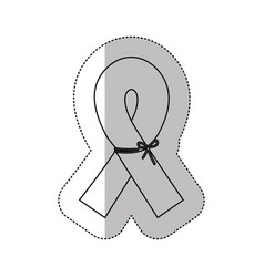 Figure breast cancer ribbon defense icon vector