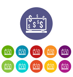 Computer monitor and dollar signs set icons vector