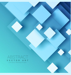 Blue background with geometric square shapes vector