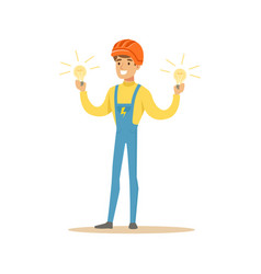Smiling electrician in uniform standing and vector