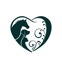 Veterinarian heart animal love horse dog and cat vector