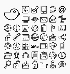 Communication and transportaion icon set vector