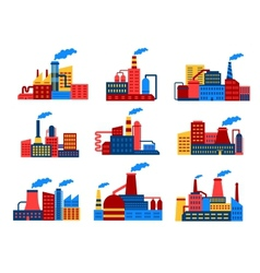Industrial buildings flat icons vector