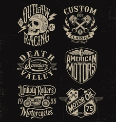One color vintage motorcycle graphic set vector