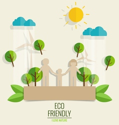 Eco friendly paper cut of family and tree vector