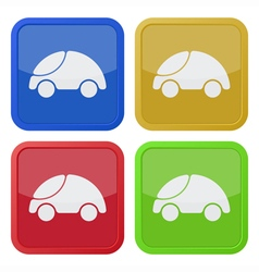 Set of four square icons with car vector