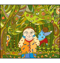 children play forest vector image