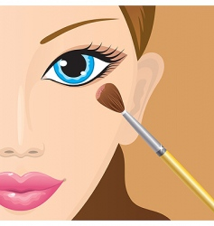 applying eye shadow vector image