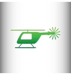 Helicopter sign green gradient icon vector