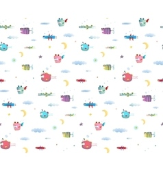Monster Fly Fish seamless pattern for Kids Design vector image