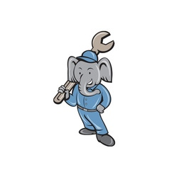 Elephant mechanic spanner standing cartoon vector