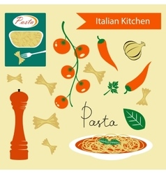 A colorful Italian kitchen set vector image