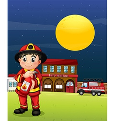 A fireman with a fire extinguisher vector image