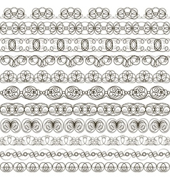 Background with set of linear calligraphic ornamen vector