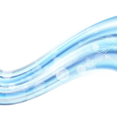 Bright blue swoosh wave bokeh background vector