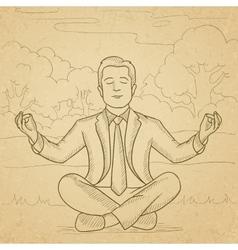 Businessman meditating in lotus pose vector