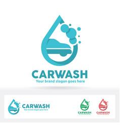Car wash logo car shampoo bubble and water drop vector