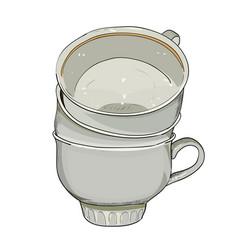color sketch of cups vector image