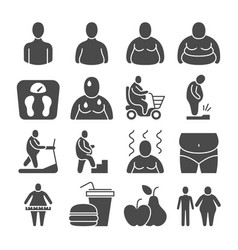 Fat obese people overweight person icons vector