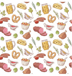 German food hand drawn seamless pattern vector