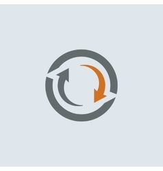 Gray-orange cycle round icon vector