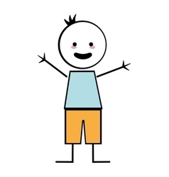 happy boy with open arms icon stick figure vector image
