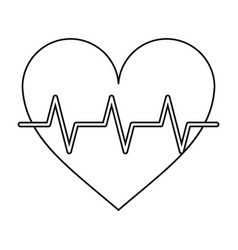 Heart pulse rhythm cardio thin line vector