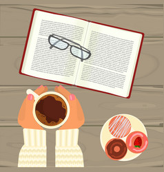 hot coffee book and glasses vector image
