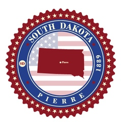 Label sticker cards of State South Dakota USA vector image