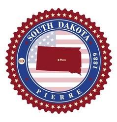 Label sticker cards of state south dakota usa vector