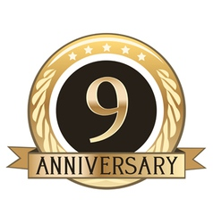 Nine Year Anniversary Badge vector image vector image