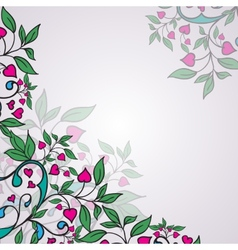 ornament with green leaves and hearts vector image vector image