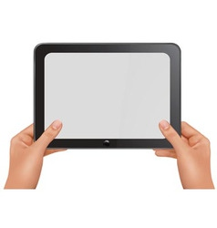 Person holding tablet vector