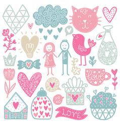 romantic doodles elements vector image vector image